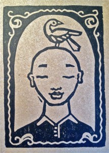 The Blessing Linoleum Print approx. 3x4 inches